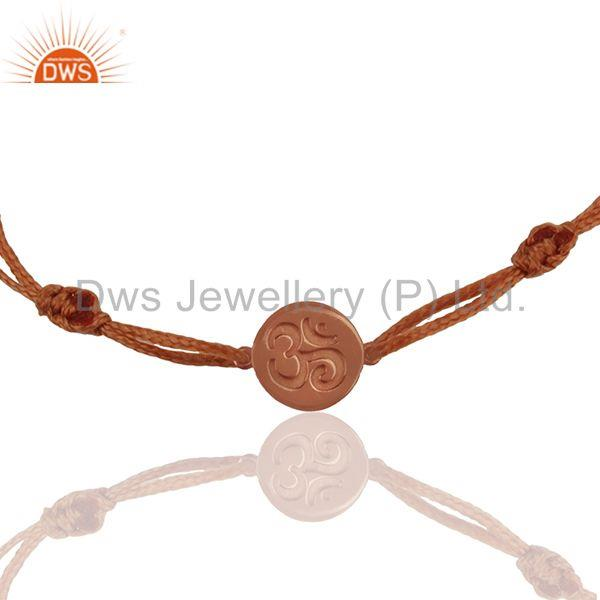 Rose Gold Plated 925 Silver Om Ohm Charm Religious Bracelet Jewelry