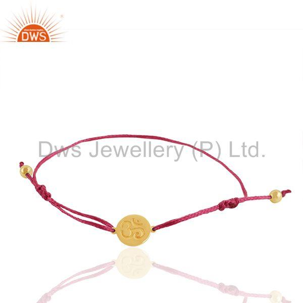Gold Plated 925 Silver Om Engraved Charm Bracelet Wholesale Supplier