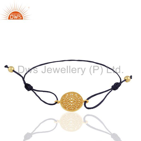 18k Gold Plated 925 Silver Indian Charm Macrame Bracelet Suppliers