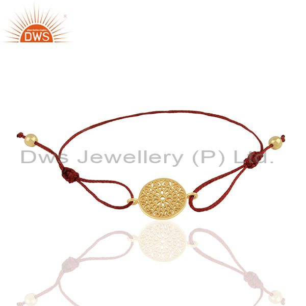 14k Gold Plated 925 Silver Gold Plated Charm Macrame Bracelet Supplier