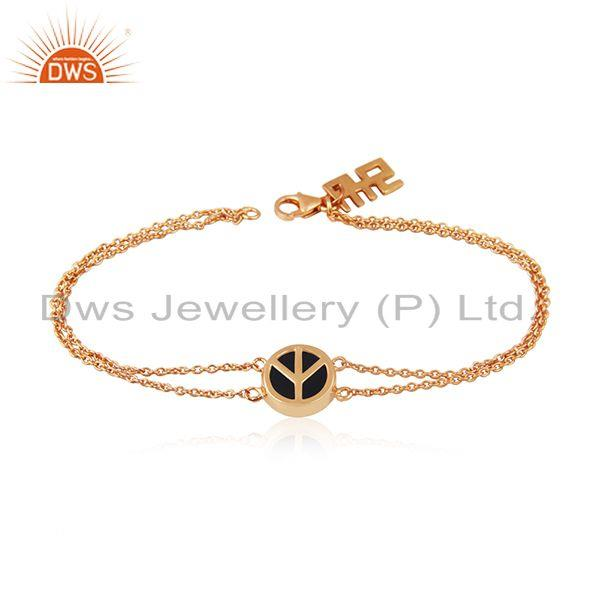 Peace Silver Rose Gold Plated Silver Charm Black Onyx Bracelet Jewelry
