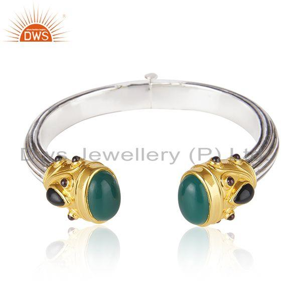Green Onyx Gemstone Oxidized Sterling Silver Bangle Manufacturers