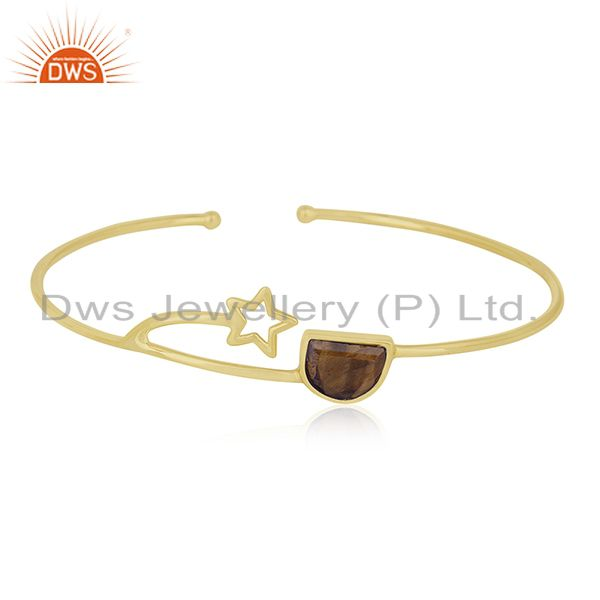 14k Gold Plated 925 Silver Tiger Eye Gemstone Star Charm Cuff Bracelet Wholesale