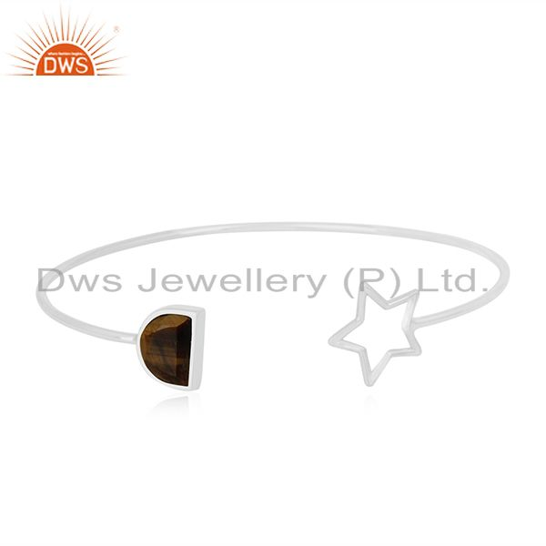 New Arrival Tiger Eye Gemstone 925 Silver Star Charm Cuff Bangle For Womens