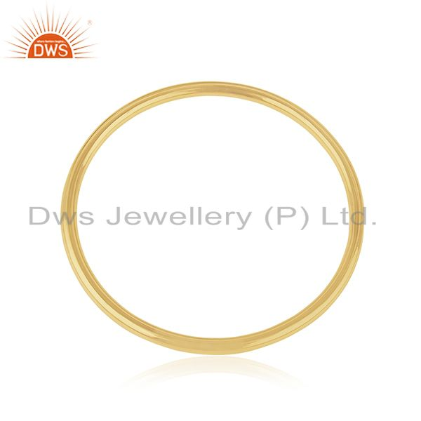 Handmade 925 Sterling Silver Gold Plated Simple Bangle For Womens Jewelry