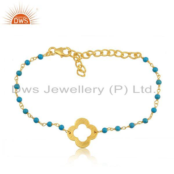 Turquoise Beaded Gemstone Wholesale Silver Gold Plated Clover Bracelet Jewelry
