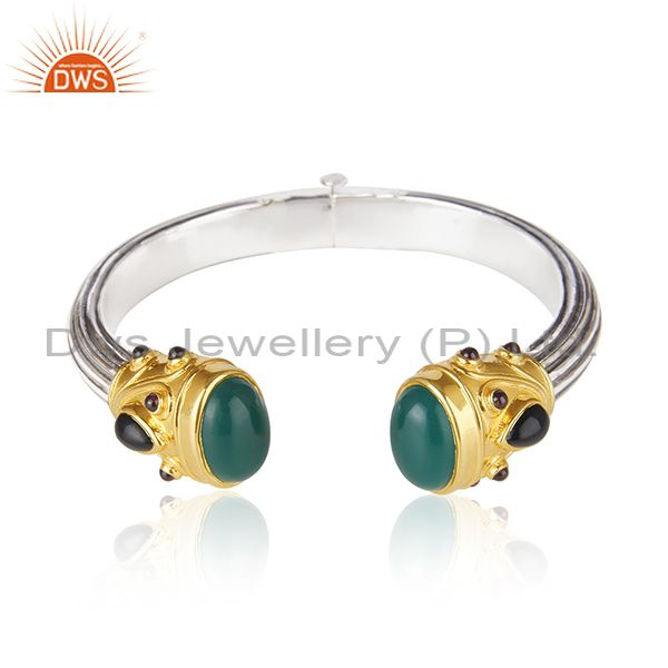 Gold Plated and Oxidized Sterling Silver Cuff Bangle Manufacturer