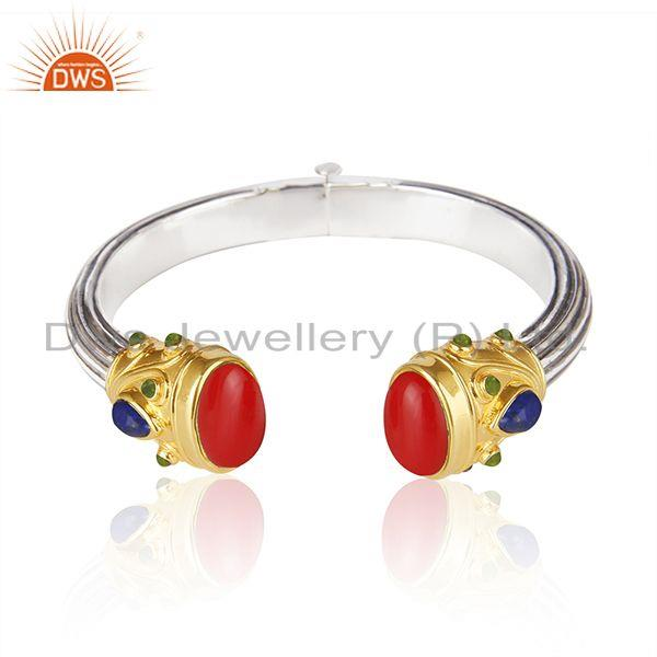 Red Coral Gemstone Gold Plated Sterling Silver Oxidized Cuff Bangle