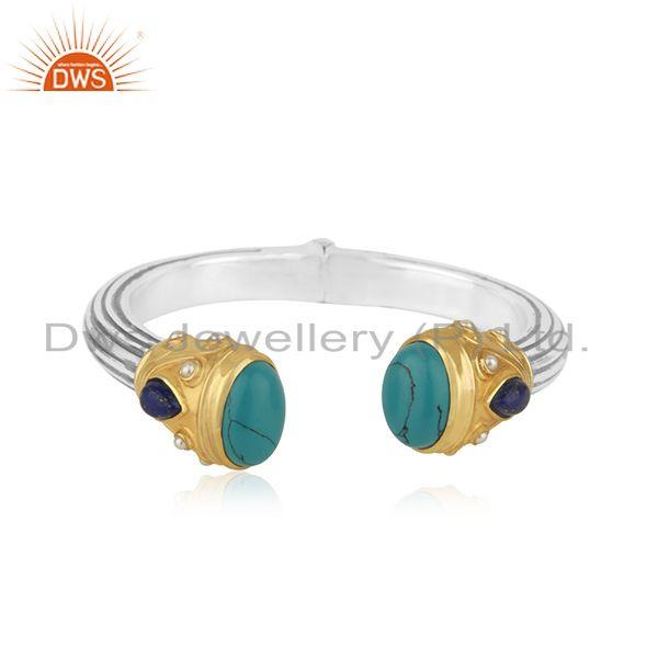 Genuine Turquoise Gemstone Handmade Fine 92.5 Silver Cuff Bangle Manufacturer
