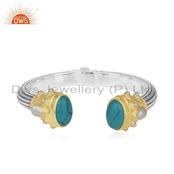 Turquoise Pearl Gemstone Oxidized Silver Openable Cuff Bangle Jewelry