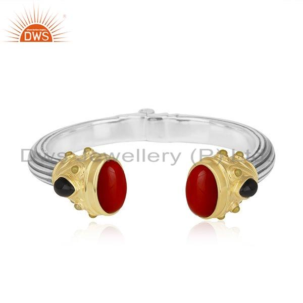 Coral Black Onyx GemstoneSilver Openable Cuff Bangle Jewelry For Women