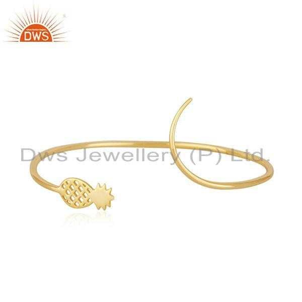 Pineapple Design 925 Silver Yellow Gold Plated Cuff Bracelet Manufacturer India