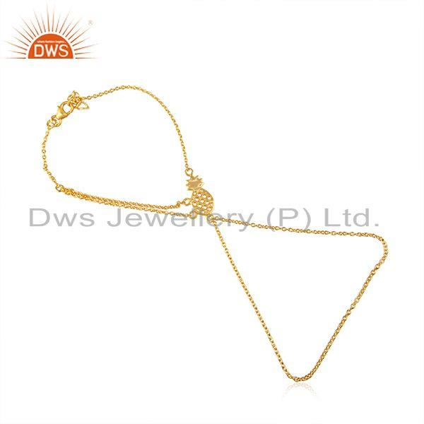 Pineapple Design 925 Sterling Silver Gold Plated Chain LInk Bracelet Suppliers