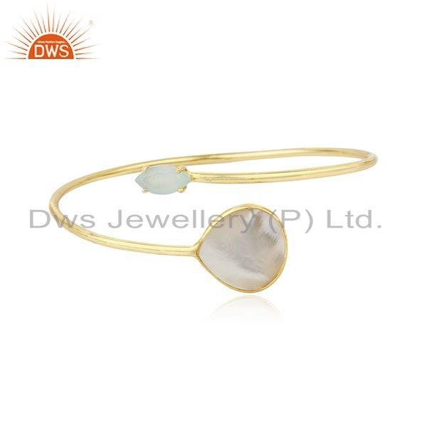 Mother of Pearl Gemstone Gold Plated 925 Sterling Silver Cuff Bangle