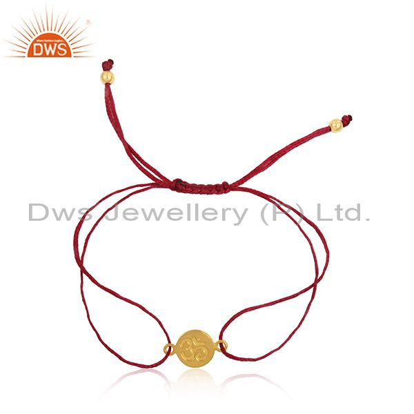 Pink Dori Yellow Gold Plated 925 Silver OM Engraving Bracelet Jewelry