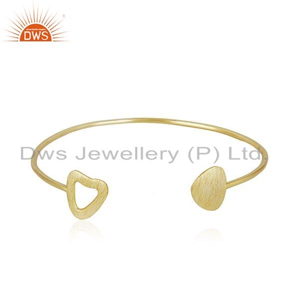 Handmade Gold Plated 925 Sterling Plain Silver Texture Designer Cuff Bangle Jewelry