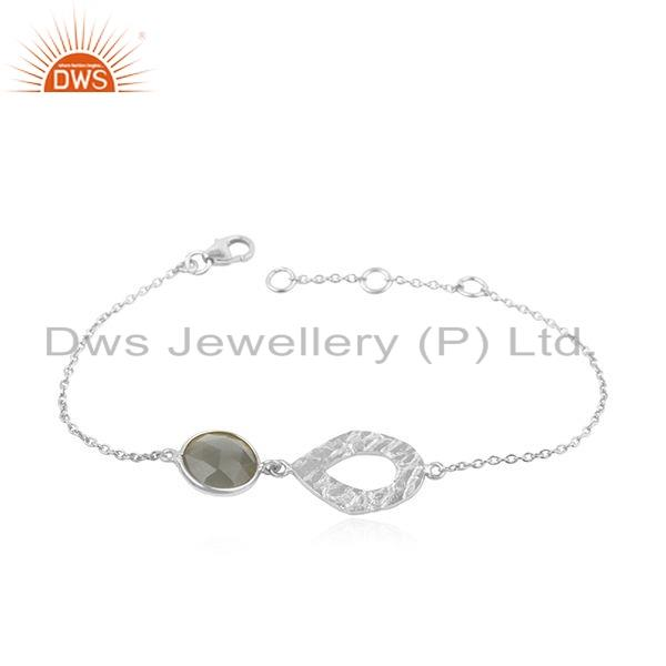 Gray Moonstone Gemstone Texture 925 Fine Silver Chain Bracelet Jewelry