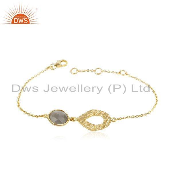 Texture Gold Plated Silver Gray Moonstone Gemstone Bracelet Jewelry