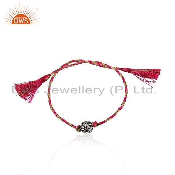Indian Oxidized Silver Beads Girls Macrame Rakhi Bracelet Jewelry