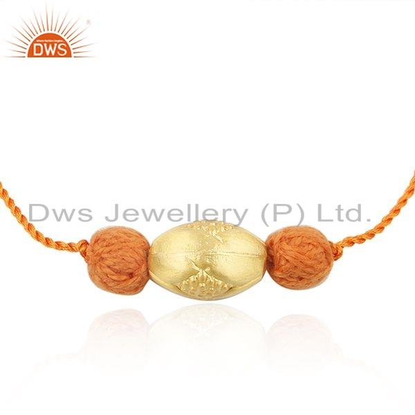 Designer Yellow Gold Plated Silver Bead Macrame Bracelet Jewelry