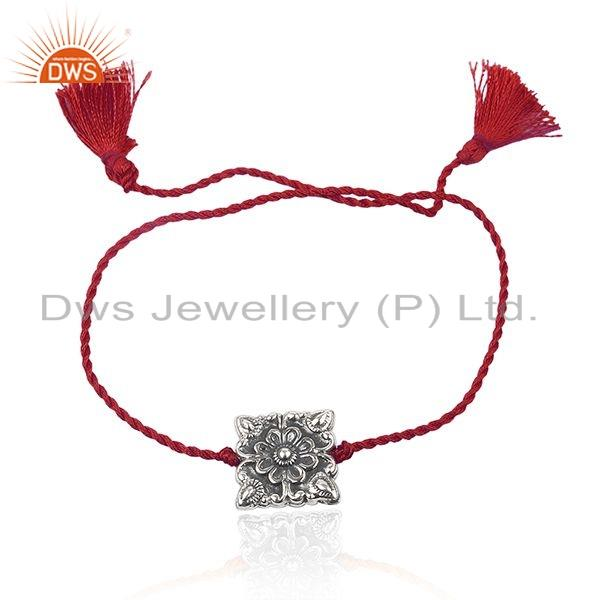 Floral Design Oxidized Sterling Silver Red Macrame Bracelet Jewelry