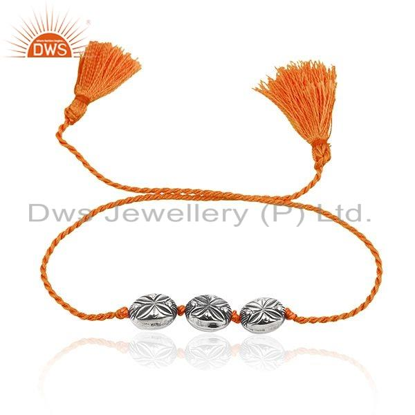Floral Oxidized Silver Beaded Orange Macrame Womens Bracelet Jewelry