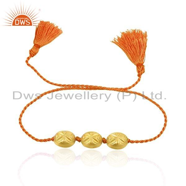 New Gold Plated Designer Silver Bead Orange Macrame Bracelet Jewelry