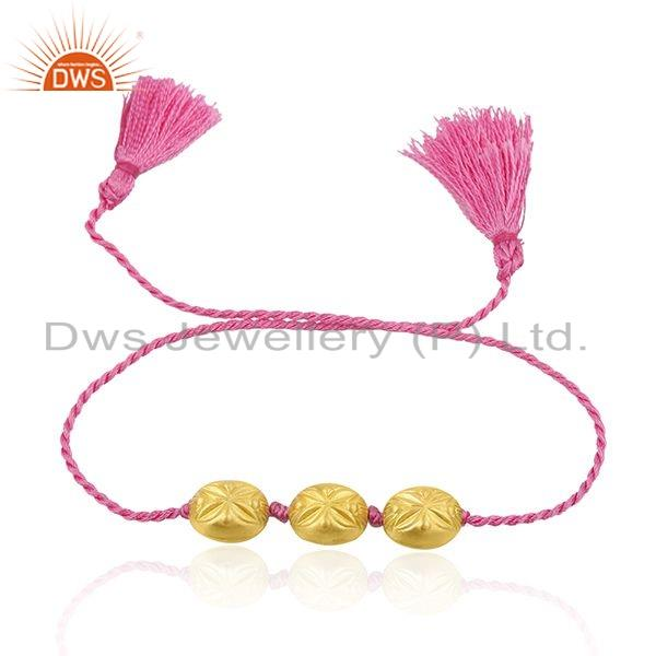 Pink Color Macrame 925 Silver Gold Plated Beaded Bracelet Jewelry