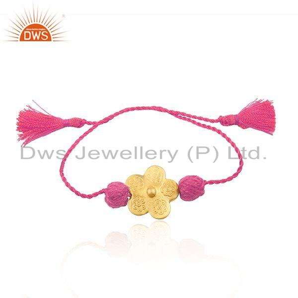 Flower Gold Plated Silver Pink Macrame Dori Girls Bracelet Jewely