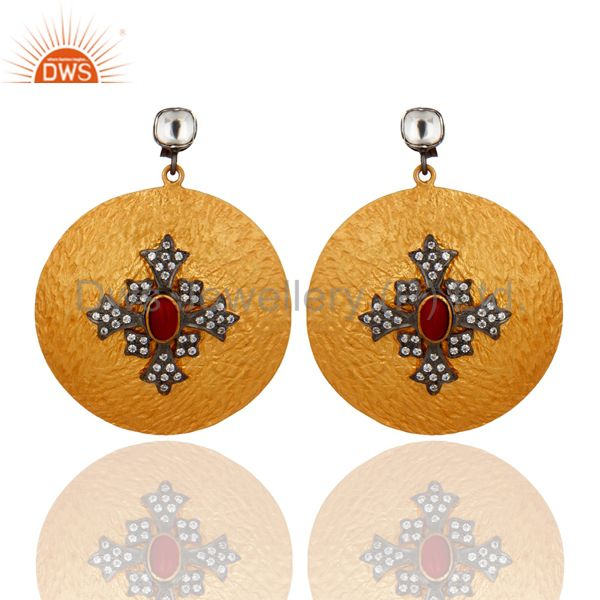18K Gold Plated 925 Sterling Silver Disc Designer Red Coral & CZ Earrings