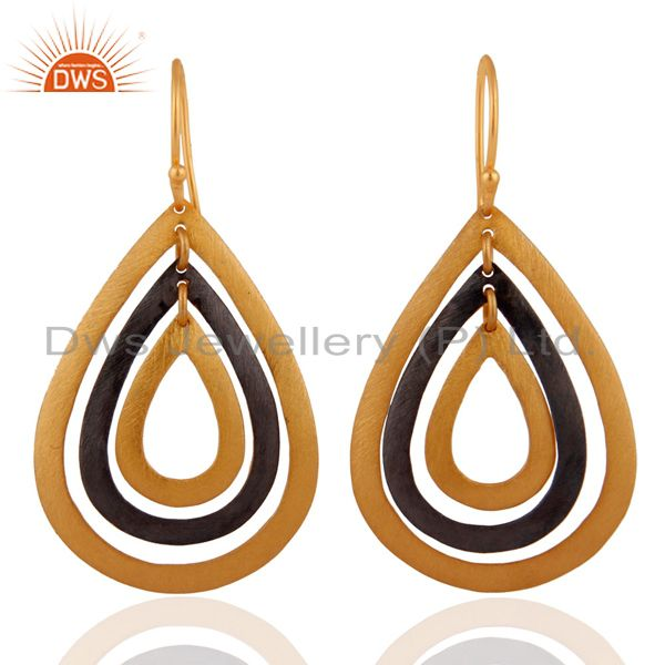 22K Yellow Gold Plated Multi Cutout Teardrop Earrings