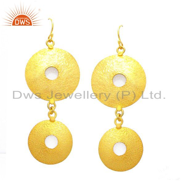 24K Yellow Gold Plated Sterling Silver Matte Finish Double Disc Dangle Earrings