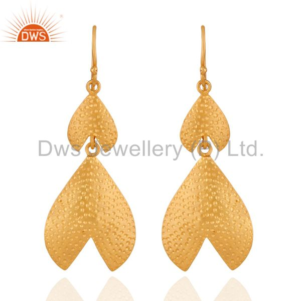 Modern Indian Hand Hammered Gold Plated Sterling Silver Earrings Designs Jewelry