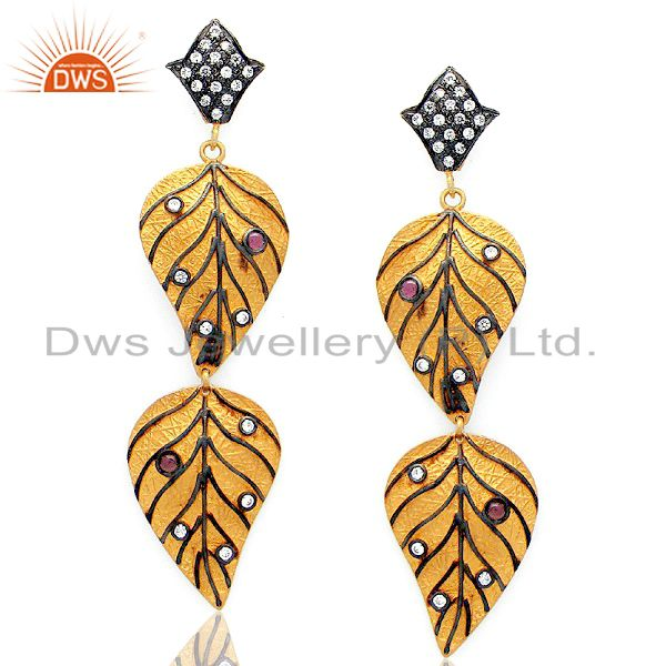 22K Gold Plated Sterling Silver Tourmaline And CZ Double Leaf Dangle Earrings