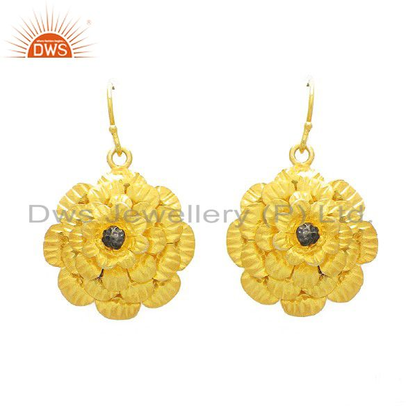 22K Yellow Gold Plated Sterling Silver Flower Designer Dangle Earrings