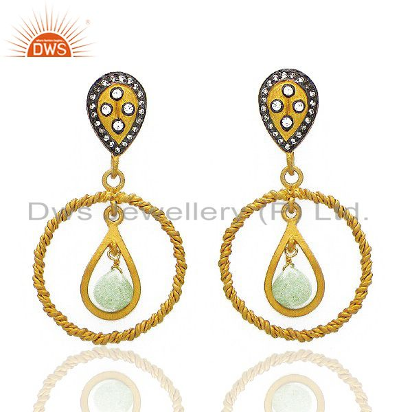 22K Yellow Gold Plated Brass Chrysoprase And CZ Designer Dangle Earrings