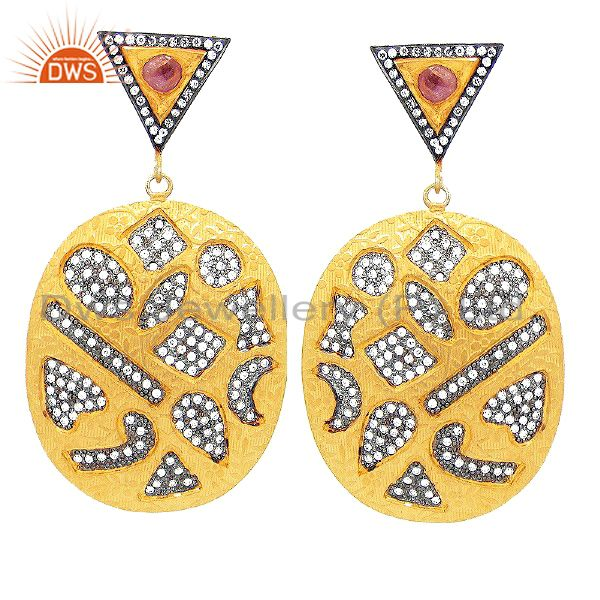 Designer Cz Abstract Shapes Oval Fashion Jewelry Dangle Earrings
