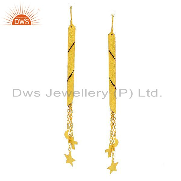 22K Gold Plated Sterling Silver Star, Cross And Half Moon Chain Dangle Earrings