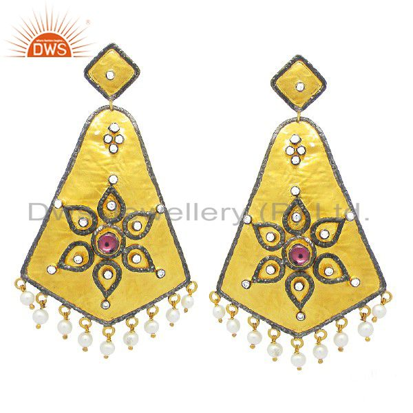 22K Yellow Gold Plated Sterling Silver CZ And Pearl Designer Chandelier Earrings
