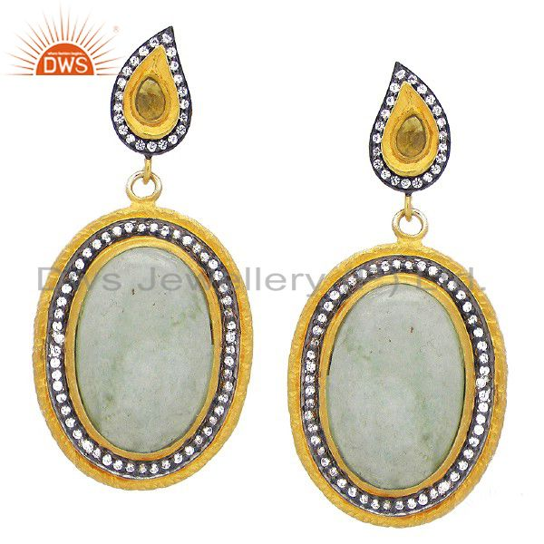 22K Yellow Gold Plated Sterling Silver CZ And Green Aventurine Dangle Earrings