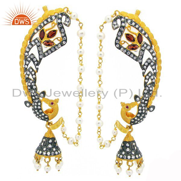 22K Yellow Gold Plated Sterling Silver Garnet And CZ Peacock Ear Cuff Earrings