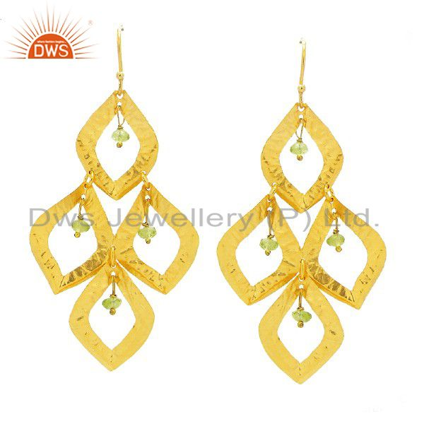 24K Yellow Gold Plated Sterling Silver Peridot Gemstone Chandelier Earrings
