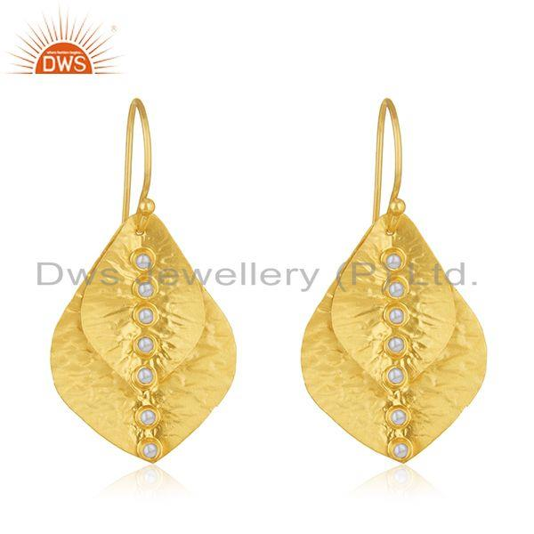 Leaf Design Handmade Gold Plated 925 Silver Pearl Earring Wholesale