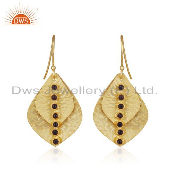 Smoky Quartz Gemstone 925 Silver Gold Plated Handmade Earring Manufacturer India