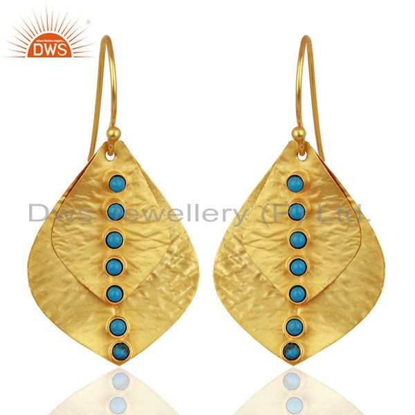 18K Yellow Gold Plated Sterling Silver Turquoise Hammered Petals Dangle Earrings