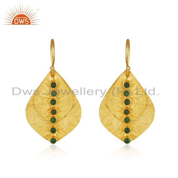 Leaf Design Gold Plated Sterling Silver Green Onyx Gemstone Earrings