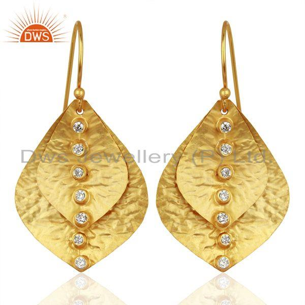 Leaf Designer Gold Plated Silver CZ Earrings Wholesale Jewelry