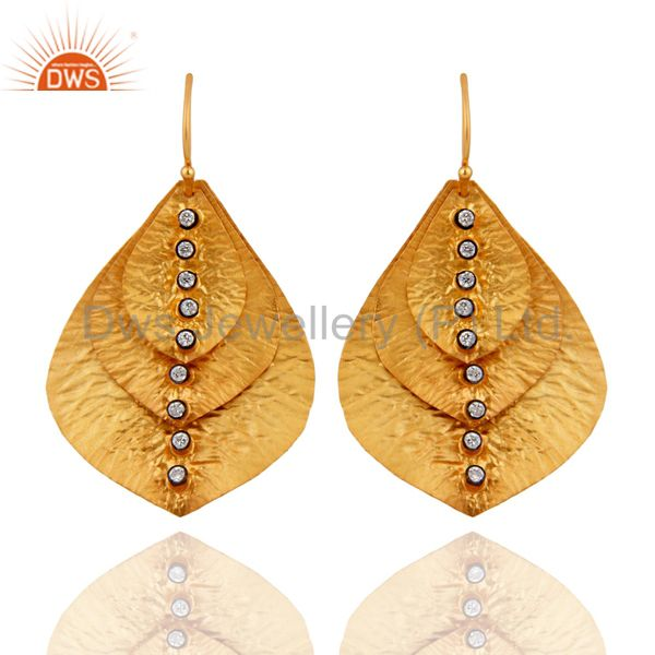 Handmade 925 Sterling Silver 22k Gold Plated Cubic Zirconia Earrings For Womens