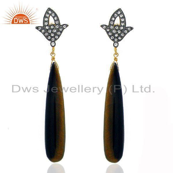18K Yellow Gold Plated Sterling Silver Tiger Eye Smooth Drop Earrings With CZ