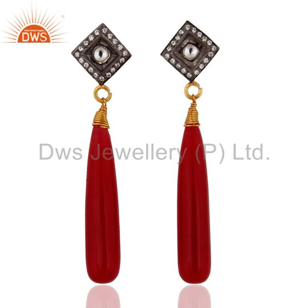 Natural Red Aventurine & Crystal Quartz 925 Silver Gold Plated Dangle Earrings